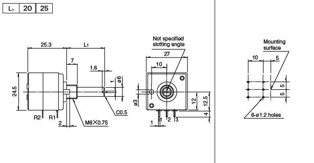 original alps rk27 volume dual 20k potentiometer round shaft made in japan